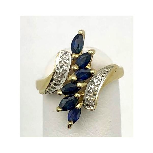 10KY Blue Sapphire & Diamond Ring Pineforest Jewelry, Inc. Houston, TX