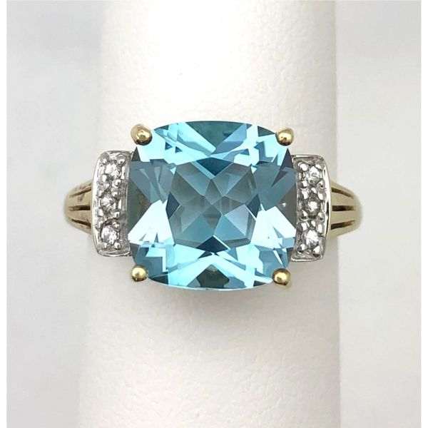 10KY Blue Topaz & Diamond Ring Pineforest Jewelry, Inc. Houston, TX