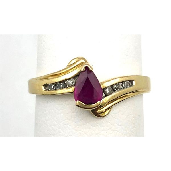 14KY Pear-Shaped Ruby & Diamond Ring Pineforest Jewelry, Inc. Houston, TX