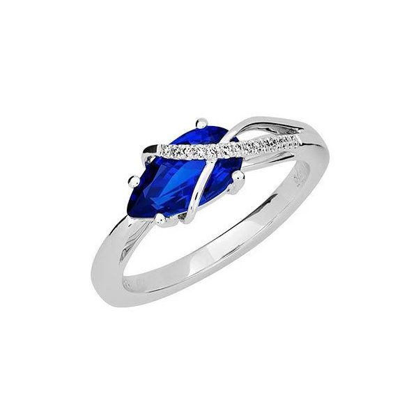 14KW Chatham Blue Sapphire Ring Pineforest Jewelry, Inc. Houston, TX