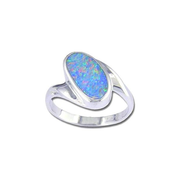 14KW Australian Opal Doublet Ring Pineforest Jewelry, Inc. Houston, TX