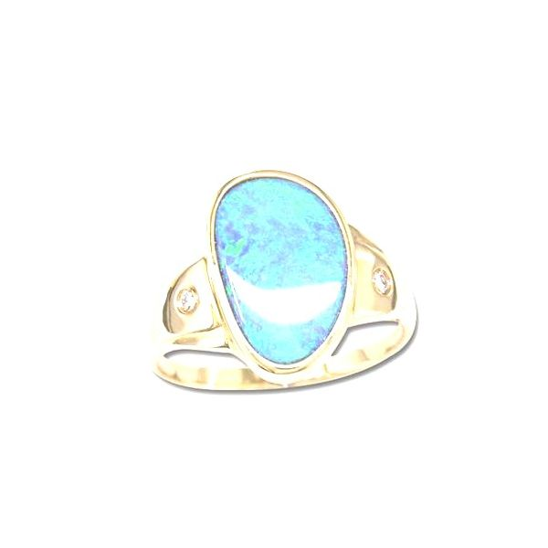 14KY Australian Opal Doublet Ring Pineforest Jewelry, Inc. Houston, TX