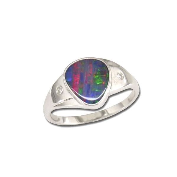 14KW Australian Opal Doublet Ring with Diamonds Pineforest Jewelry, Inc. Houston, TX