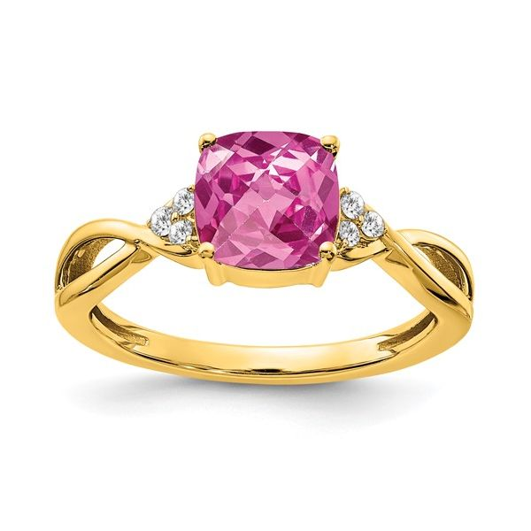 14KY Pink Sapphire & Diamond Ring Pineforest Jewelry, Inc. Houston, TX