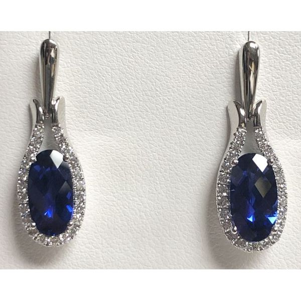 14KW Chatham Blue Sapphire Earring Pair Pineforest Jewelry, Inc. Houston, TX