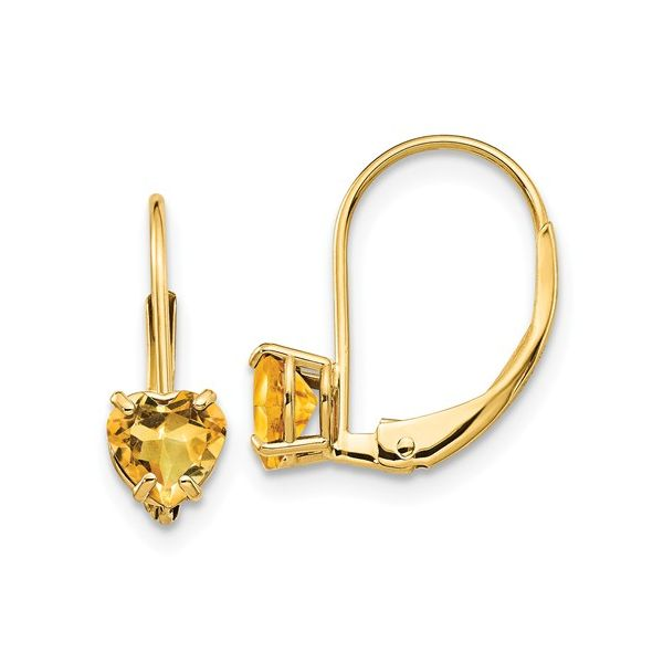 14KY Citrine Heart Earring Pair Pineforest Jewelry, Inc. Houston, TX