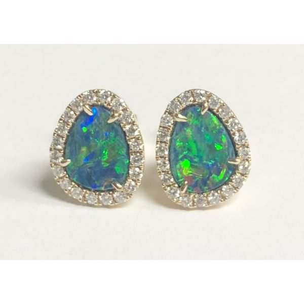 14KY Australian Opal Doublet with Diamond Halo Stud Earring Pair Pineforest Jewelry, Inc. Houston, TX