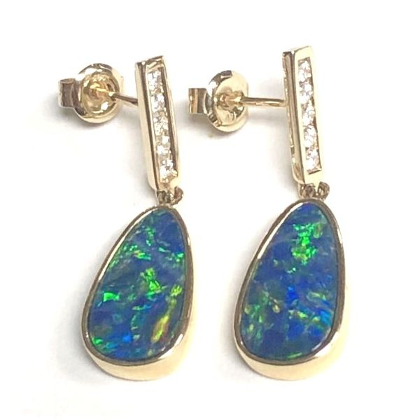 14KY Australian Opal Doublet & Diamond Dangle Earring Pair Pineforest Jewelry, Inc. Houston, TX