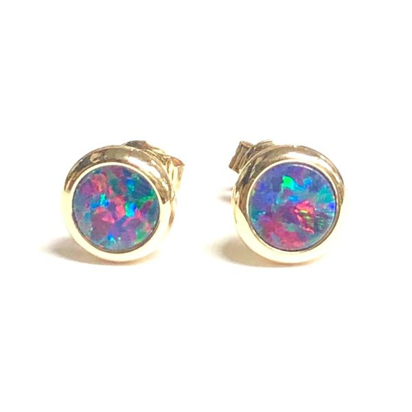 14KY  5mm Round Australian Opal Doublet Stud Earring Pair Pineforest Jewelry, Inc. Houston, TX