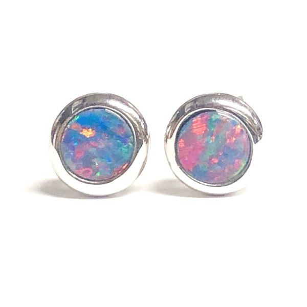 14KW 5mm Round Australian Opal Doublet Stud Earring Pair Pineforest Jewelry, Inc. Houston, TX