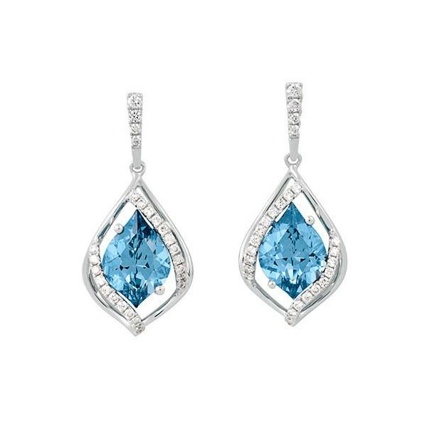 14KW Chatham Aqua Spinel Earring Pair Pineforest Jewelry, Inc. Houston, TX