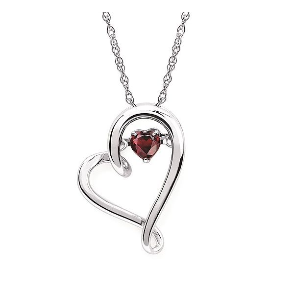 SS Heart Necklace With 4mm Garnet Birthstone (Shimmering Diamonds®) Pineforest Jewelry, Inc. Houston, TX