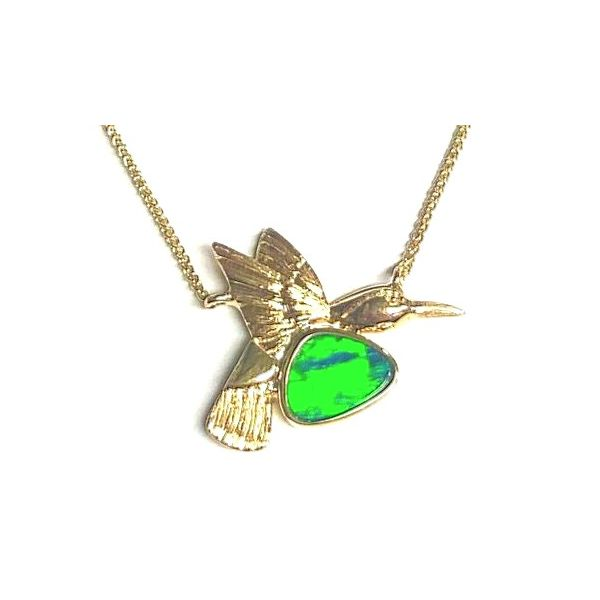 14KY Australian Opal Doublet Small Hummingbird Necklace Pineforest Jewelry, Inc. Houston, TX