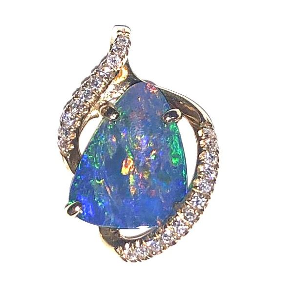 14KY Australian Opal Doublet & Diamond Pendant Pineforest Jewelry, Inc. Houston, TX