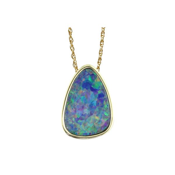 14KY Australian Opal Doublet Pendant with hidden bail Pineforest Jewelry, Inc. Houston, TX