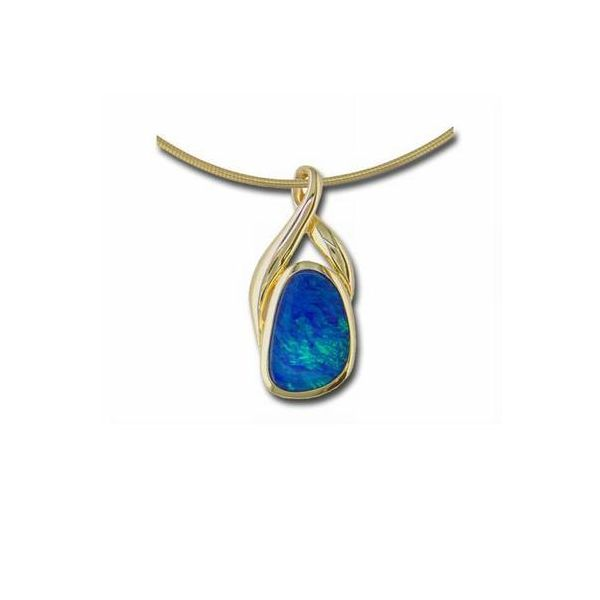 14KY Australian Opal Doublet Pendant Pineforest Jewelry, Inc. Houston, TX