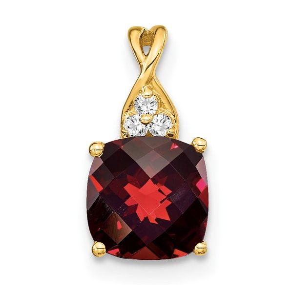 14KY Checkerboard Garnet & Diamond Pendant Pineforest Jewelry, Inc. Houston, TX