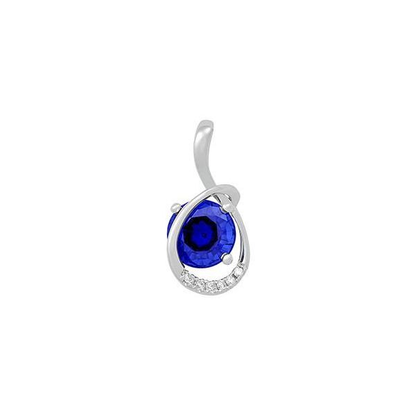 14KW Chatham Blue Sapphire Pendant Pineforest Jewelry, Inc. Houston, TX