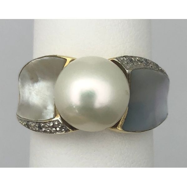 14KY Pearl with Mother of Pearl Inlay Ring Pineforest Jewelry, Inc. Houston, TX