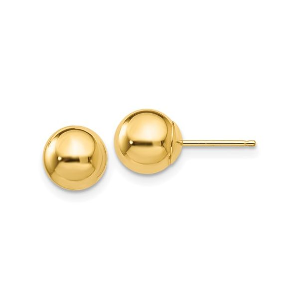 14KY Polished 7mm Ball Post Earring Pair Pineforest Jewelry, Inc. Houston, TX