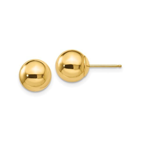 14KY Polished 8mm Ball Post Earring Pair Pineforest Jewelry, Inc. Houston, TX