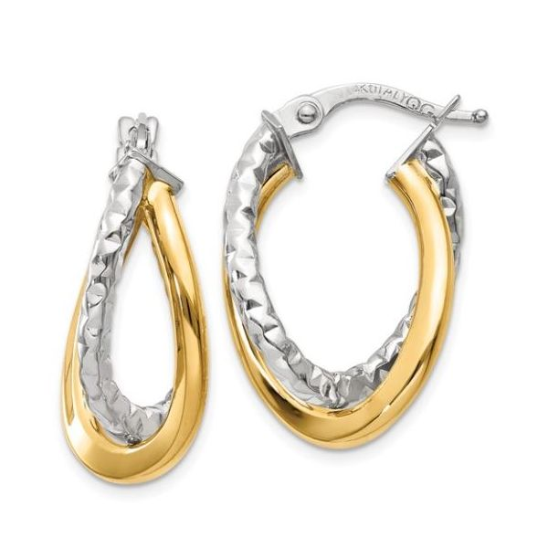 14K Two-tone Post Hoop Earring Pair Pineforest Jewelry, Inc. Houston, TX