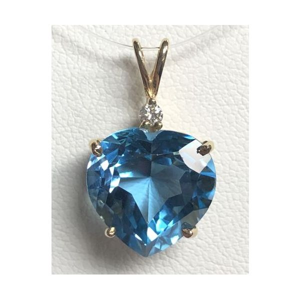 14KY Blue Topaz Heart Shaped Pendant Pineforest Jewelry, Inc. Houston, TX