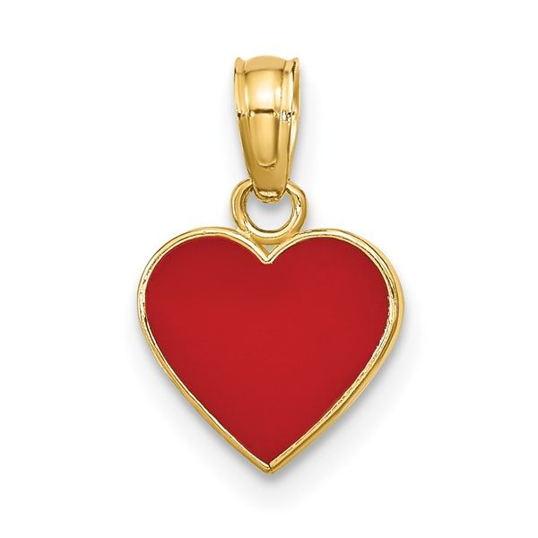 14KY Polished Enameled Red Heart Pendant Pineforest Jewelry, Inc. Houston, TX