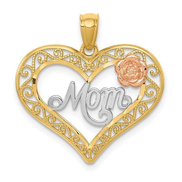 14k Two-tone with White Rhodium D/C MOM in Heart with Rose Pendant Pineforest Jewelry, Inc. Houston, TX