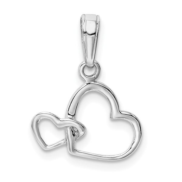 14K White Gold Polished Intertwined Double Heart Pendant Pineforest Jewelry, Inc. Houston, TX
