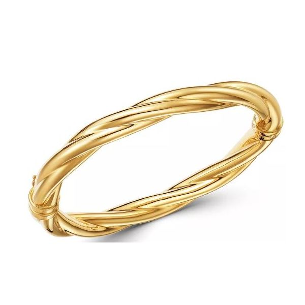 14KY 7.20mm Gold Twisted Hinge Bangle Bracelet Pineforest Jewelry, Inc. Houston, TX