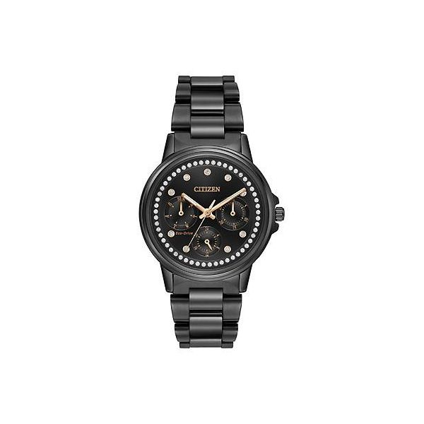 Citizen Eco Drive Matte Black White Crystal Bezel And Dial