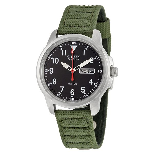 Citizen Men S Eco Drive Stainless Steel Watch With Green Canvas Band