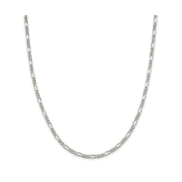 Sterling Silver Rhodium-Plated 4mm Figaro Chain 24in Pineforest Jewelry, Inc. Houston, TX