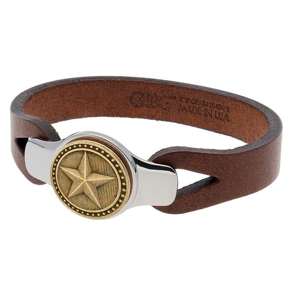 Sterling Silver Brown Leather Strap Texas Star Bracelet Pineforest Jewelry, Inc. Houston, TX