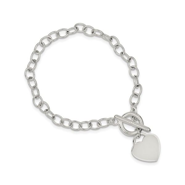 Sterling Silver Oval Link Heart Bracelet 7.5in Pineforest Jewelry, Inc. Houston, TX