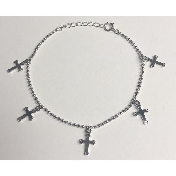SS Beaded Bracelet with Cross Dangles 7