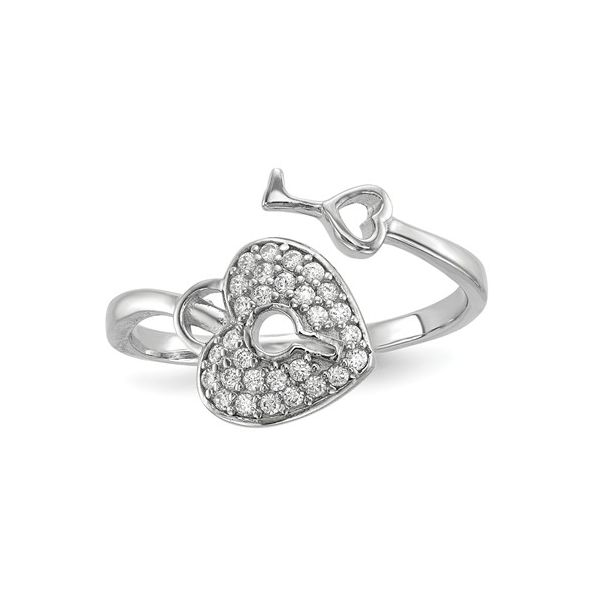 Sterling Silver Rhodium-Plated CZ Heart Lock & Key Ring Pineforest Jewelry, Inc. Houston, TX