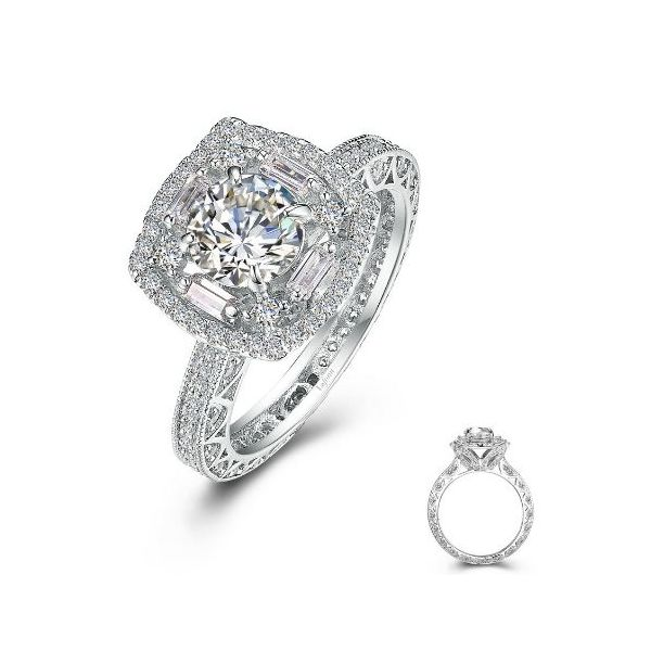 SS Bonded w/ Plat Vintage Inspired Engagement Ring Size:7 Pineforest Jewelry, Inc. Houston, TX