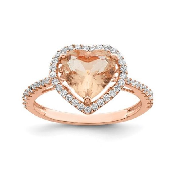 Sterling Silver Pink and White CZ Heart Ring Pineforest Jewelry, Inc. Houston, TX