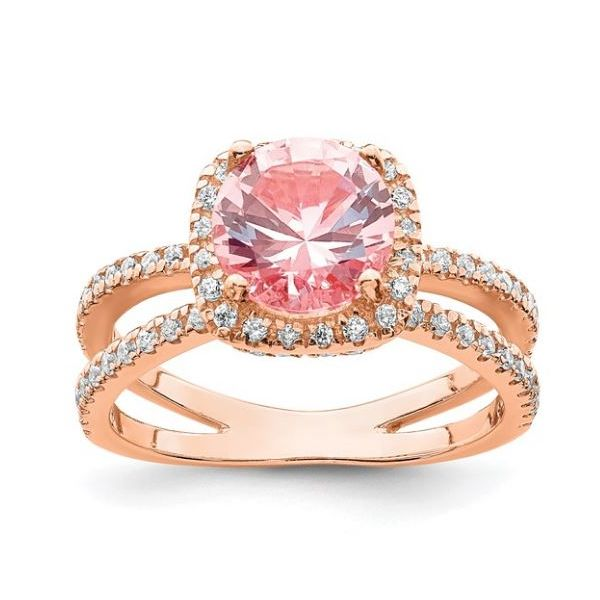 Sterling Silver Rose-tone Pink Crystal and CZ Ring Pineforest Jewelry, Inc. Houston, TX