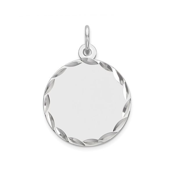 Sterling Silver Rhod-Plated Eng. Rnd Polish Front/Satin Back Disc Charm Pineforest Jewelry, Inc. Houston, TX