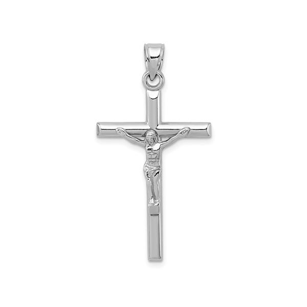 Sterling Silver Rhodium-Plated Polished Crucifix Pendant Pineforest Jewelry, Inc. Houston, TX