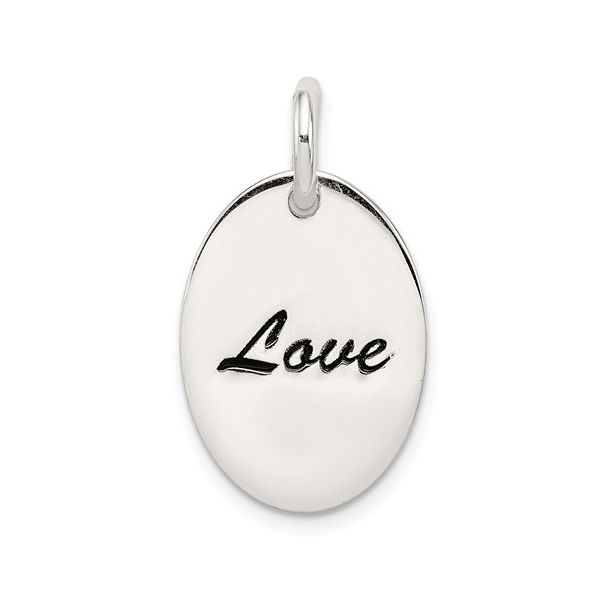 Sterling Silver Polished Enamel Love Pendant Pineforest Jewelry, Inc. Houston, TX