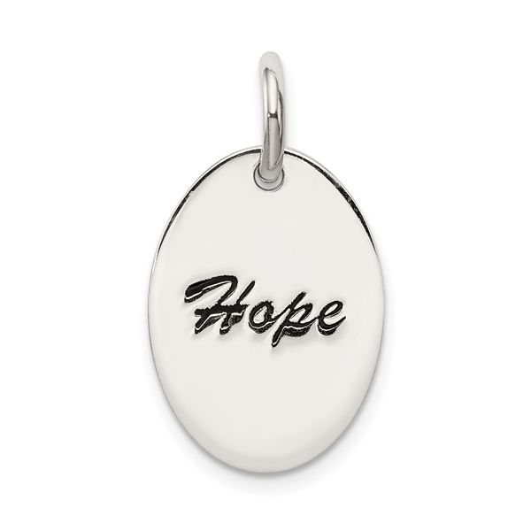 Sterling Silver Polished Enamel Hope Pendant Pineforest Jewelry, Inc. Houston, TX