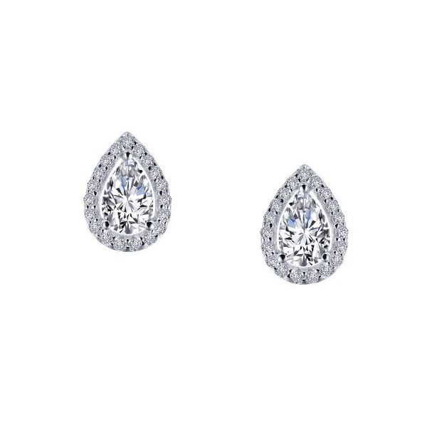 Sterling Silver Halo Pear Earrings Pineforest Jewelry, Inc. Houston, TX