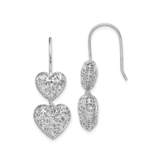 Sterling Silver Rhodium-Plated Filigree Hearts Dangle Earrings Pineforest Jewelry, Inc. Houston, TX