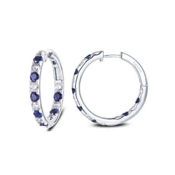 SS Round Hoops w/ Lassaire sim. dias and lab-grown sapphires Pineforest Jewelry, Inc. Houston, TX