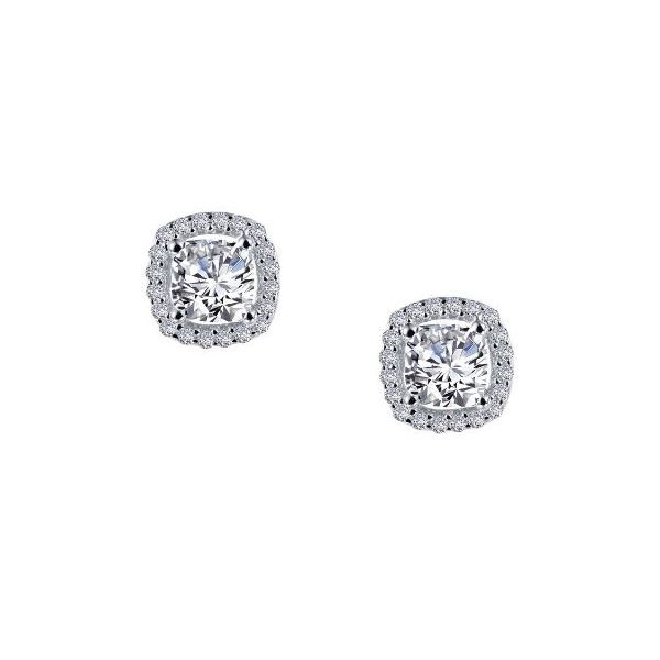 SS Lafonn Lassaire Cushion-Cut Halo Stud Earring Pair Pineforest Jewelry, Inc. Houston, TX