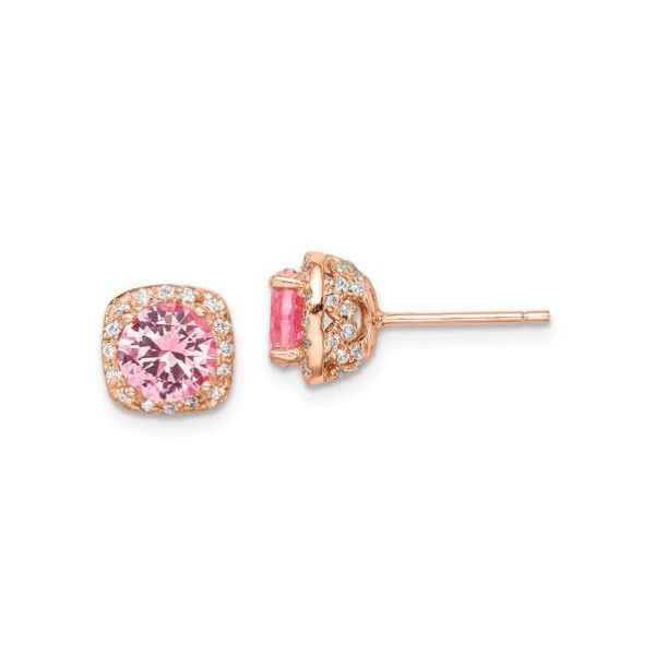 Sterling Silver Rose-Tone Pink Crystal Earring Pair Pineforest Jewelry, Inc. Houston, TX